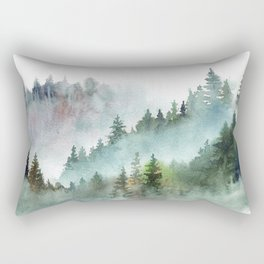 Watercolor Pine Forest Mountains in the Fog Rectangular Pillow