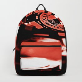 Casino Chips & Cards-Red Backpack