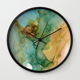 Turquoise Brass Angel Wall Clock