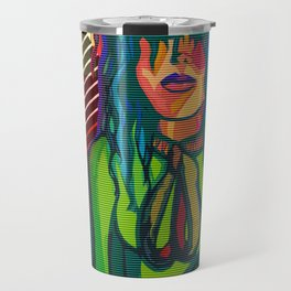 Color Blind - Bright Colorful Surreal Portrait of Woman, Painting Travel Mug