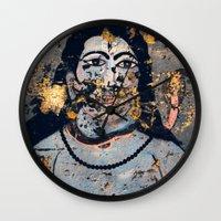 hindu Wall Clocks featuring Hindu mural by Rick Onorato