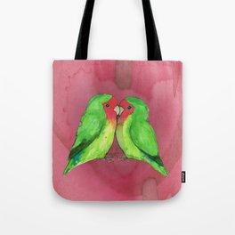 Peach faced lovebirds Tote Bag