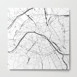 Paris France Minimal Street Map - Gray and White Metal Print