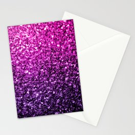 Purple Pink Ombre glitter sparkles Stationery Cards
