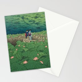 Lotus Pond At Benten Shrine, Shiba By Kawase Hasui - Vintage Japanese Woodblock Print Art Stationery Cards