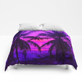 Pink Palm Trees by the Indian Ocean Comforters