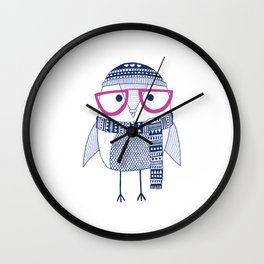 Hipster owl - pink glasses Wall Clock
