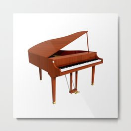 Grand Piano with Wood Finish Metal Print