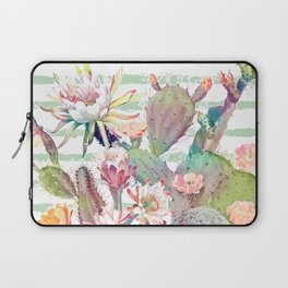 Watercolor cactus, floral and stripes design Laptop Sleeve
