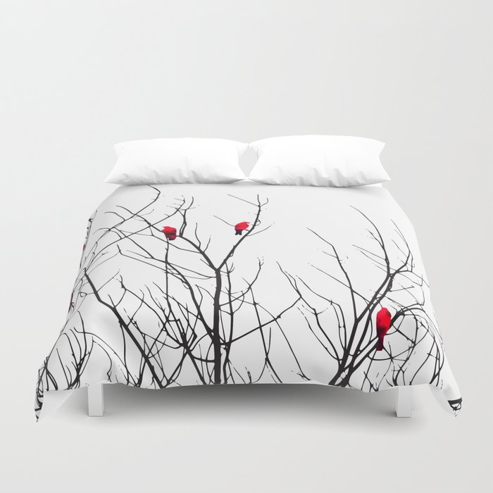 Artistic Bright Red Birds on Tree Branches Duvet Cover