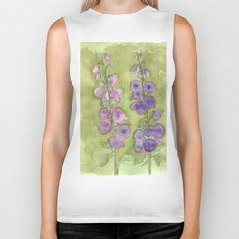 Hollyhock Foxglove Watercolor Muted Tones Biker Tank
