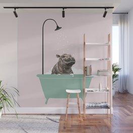 Hippo Enjoying Bubble Bath Wall Mural