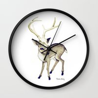 bambi Wall Clocks featuring Bambi by Emilie Steele