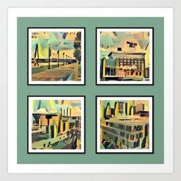 Kansas City Landmarks in Retro Fifties Style Art Print
