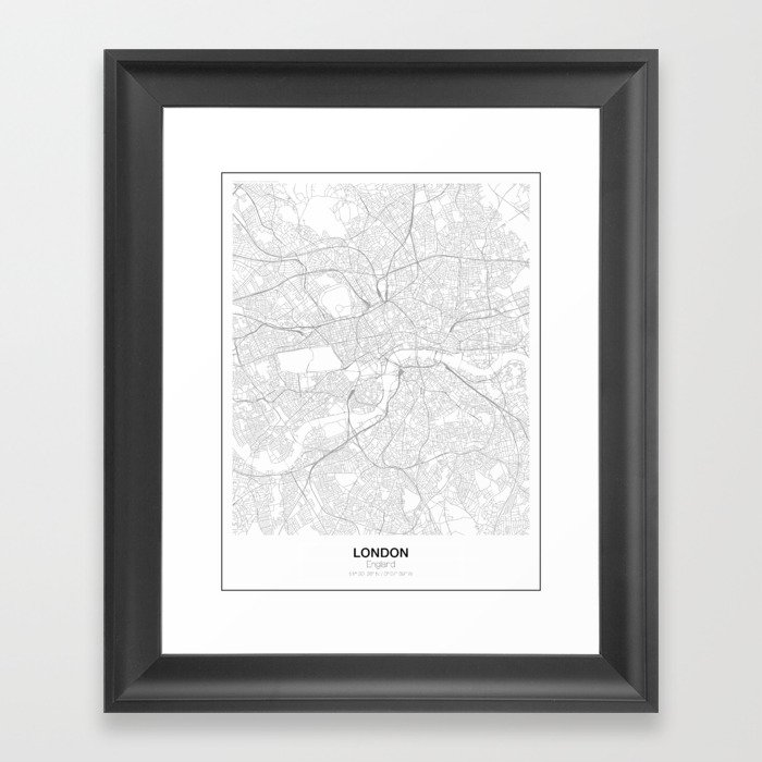 London, England Minimalist Map Framed Art Print by resfeber | Society6