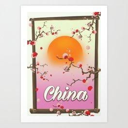 China Blossom tree sunset Art Print