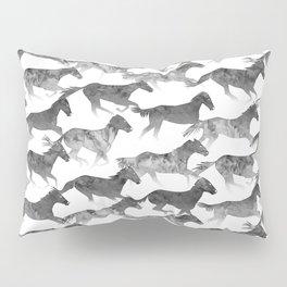 Running Watercolor Horses Ink Black Pillow Sham