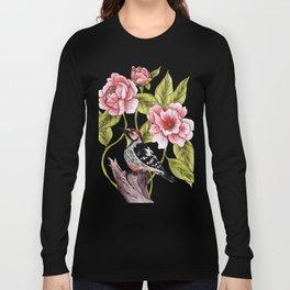 Woodpecker & Peonies - Floral/Bird Design Long Sleeve T-shirt