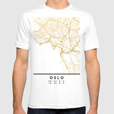 OSLO NORWAY CITY STREET MAP ART White Mens Fitted Tee MEDIUM