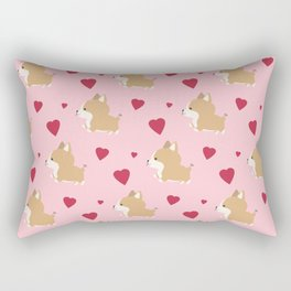 Corgi love - Pink Rectangular Pillow