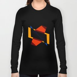 geometric symmetry orange and yellow Long Sleeve T-shirt