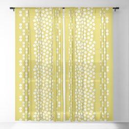 Mid-century citrine yellow retro border shapes Sheer Curtain