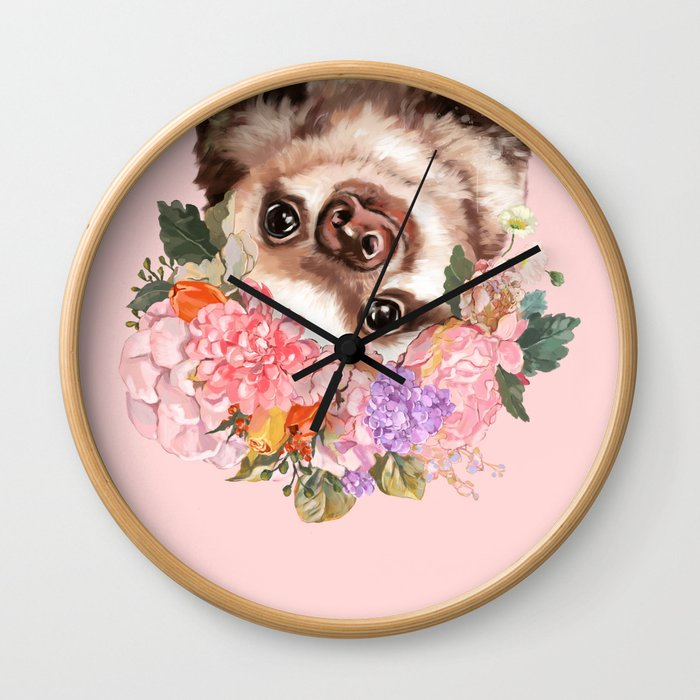 Baby Sloth with Flowers Crown in Pink Wall Clock