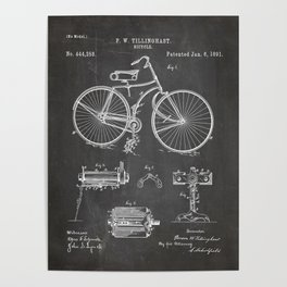 Bicycle Patent - Cyclling Art - Black Chalkboard Poster