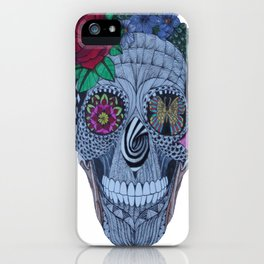 Lady Skull ready to party iPhone Case