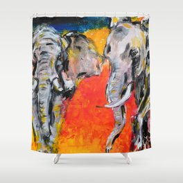 Two African Elephants playing Shower Curtain