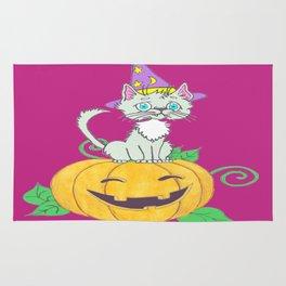 Halloween Wizard Cat Rug