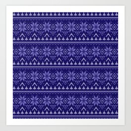 Knitted Christmas pattern in blue Art Print