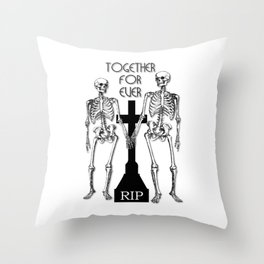 Two skeletons in love Throw Pillow