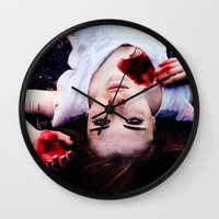 pain Wall Clocks featuring Pain by Lídia Vives