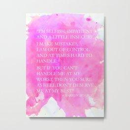 Marilyn Quote Metal Print