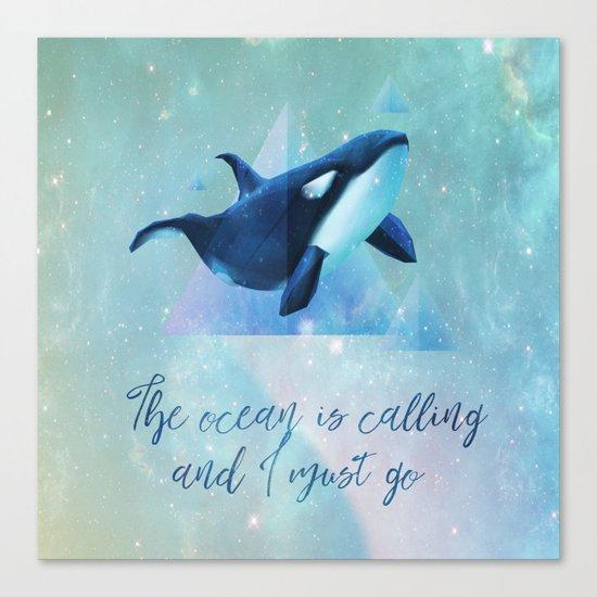 Beach Series Aqua-The Ocean is calling- Animal Whale Typography Canvas Print