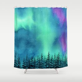 """Wilderness Lights"" Aurora Borealis watercolor landscape painting Shower Curtain"