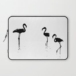 We Are The Three Flamingos Silhouette In Black Laptop Sleeve