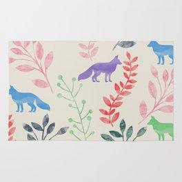 Watercolor Floral & Fox III Rug