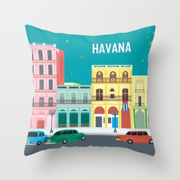 Havana, Cuba - Skyline Illustration by Loose Petals Throw Pillow