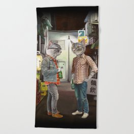 A Cats Night Out Beach Towel