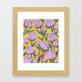 Bold Protea Flower Pattern - Pink Blue Green Purple Yellow Framed Art Print