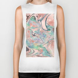 Pastel Rose Gold Mermaid Marble Biker Tank