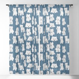 Westies on Blue Sheer Curtain