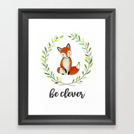 Woodland Creature Animal Nursery Fox Baby Art Decor Print Clever Watercolor Classroom Tribal Framed Art Print