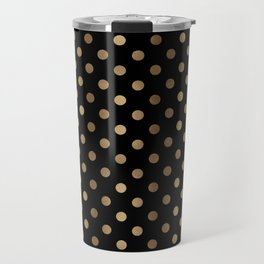 Gold & Black Polka Dots Travel Mug