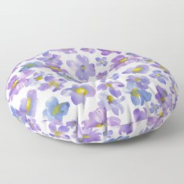 Watercolor Pansies Floor Pillow