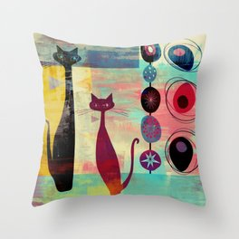 Mid-Century Modern 2 Cats - Graffiti Style Throw Pillow