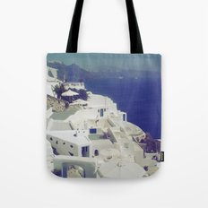 Santorini White & Blue Tote Bag