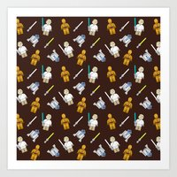 R2D2+3CPO+Luke in Brown Art Print